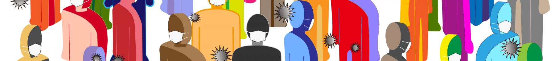 Illustration of a group of people wearing medical masks